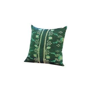 Green Boho Handwoven Ikat Pillow
