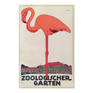 Original 1927 Julius Klinger Zoologischer Garten Flamingo Poster