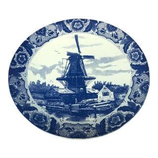 Large Delft Blue Hand Painted Signed Platter