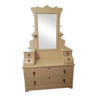 Handmade Pine Victorian Dresser With Mirror