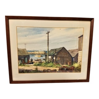 Gordon Hope Grant Original Maritime Watercolor Painting, Old Fishing Dock