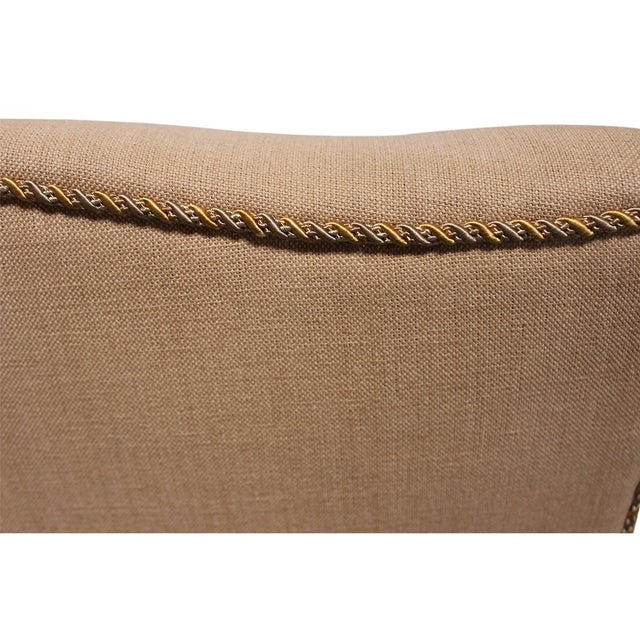 Vintage Linen Wingback Chair - Image 5 of 9