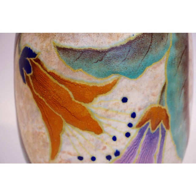 Image of French Art Deco Ceramic Vase by M. Fontinelle