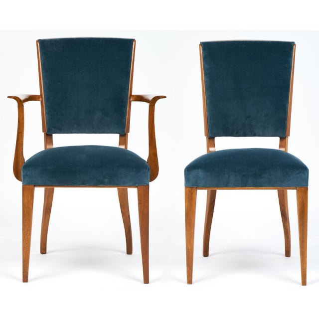 French Art Deco Cherrywood Dining Chairs- Set of 6 - Image 4 of 10