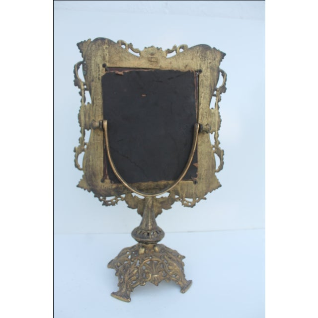 Antique French Ornate Gilt Metal Table Mirror - Image 9 of 11