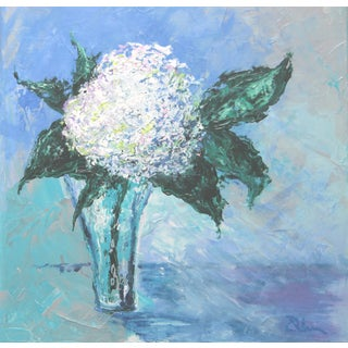 White Floral Painting by Celeste Plowden