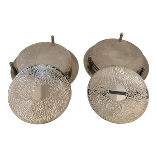 Silver Plated Drink Coasters & Holders - Set of 10
