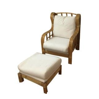 Ralph Lauren Bent Bamboo Chaise and Ottoman