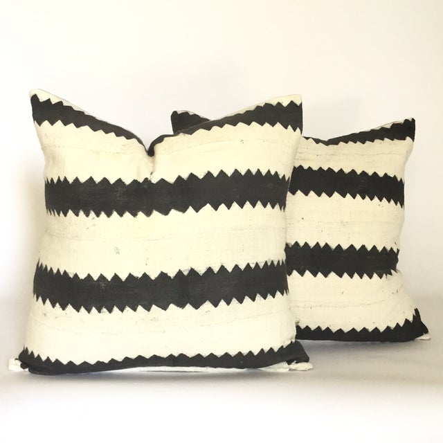 Mud Cloth Black and White Pillows - A Pair - Image 2 of 4