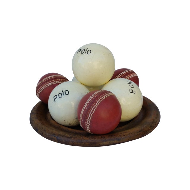 Victorian Wood Bowl With Cricket and Polo Balls - Image 1 of 5