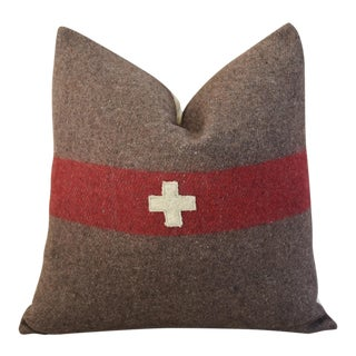 Swiss Wool & Linen Applique Cross Feather/Down Pillow