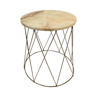 Mid-Century Onyx & Brass Drum Style Side Table