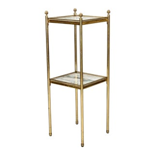 Mid Century Italian Neoclassic Marble and Brass Side Table