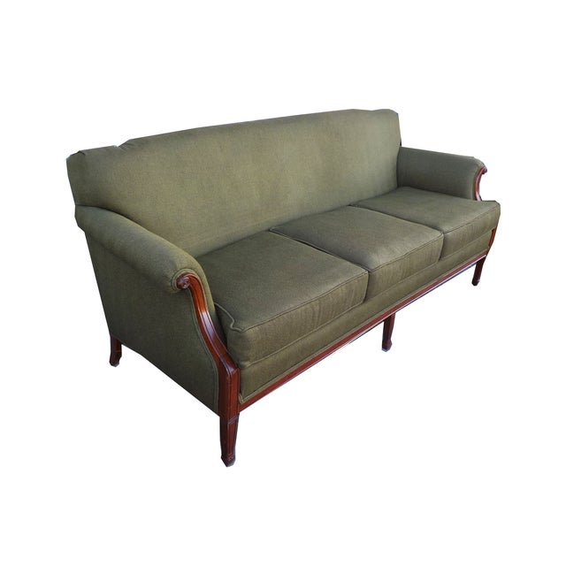 Hollywood Regency Vintage Wood Trimmed Sofa - Image 2 of 7