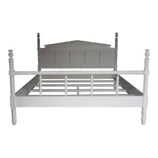 Custom Painted Wood King-Size Bobbin Bed With Spindle Footboard