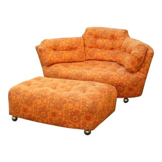 Mid-Century Modern Tufted Orange Floral Chair & Ottoman