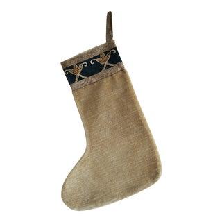 Gold Velvet w/19th C. Metallic Embroidered Textile Stocking