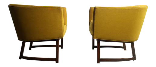 Milo Baughman For Thayer Coggin Goldenrod Yellow Lounge Chairs   A Pair