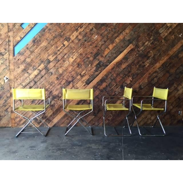1970's Chrome Yellow Vinyl Directors Chairs - 4 - Image 5 of 6