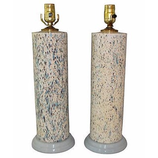 Midcentury Spatter-Painted Lamps - Pair