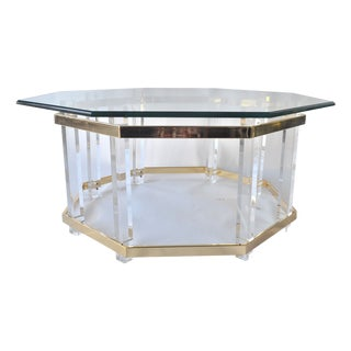 Regency House Lucite & Brass Coffee Table