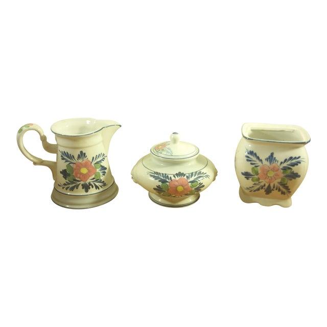 Pink Floral Ceramic Serving Set - Image 1 of 5