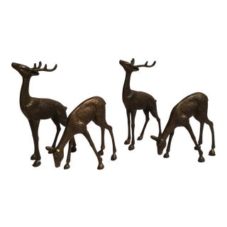 Brass Hollow Reindeer - Set of 4