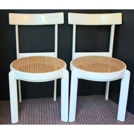 Midcentury Italian White Lacquered Chairs - A Pair - Image 2 of 10