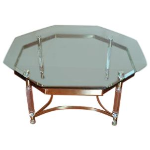 Lucite and Brass Octagonal Coffee Table