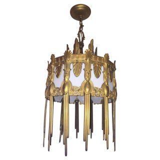 Antique Vintage Art Deco Bronze Gilded Chandelier