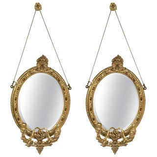 19th Century Mirror Oval Sconces - A Pair
