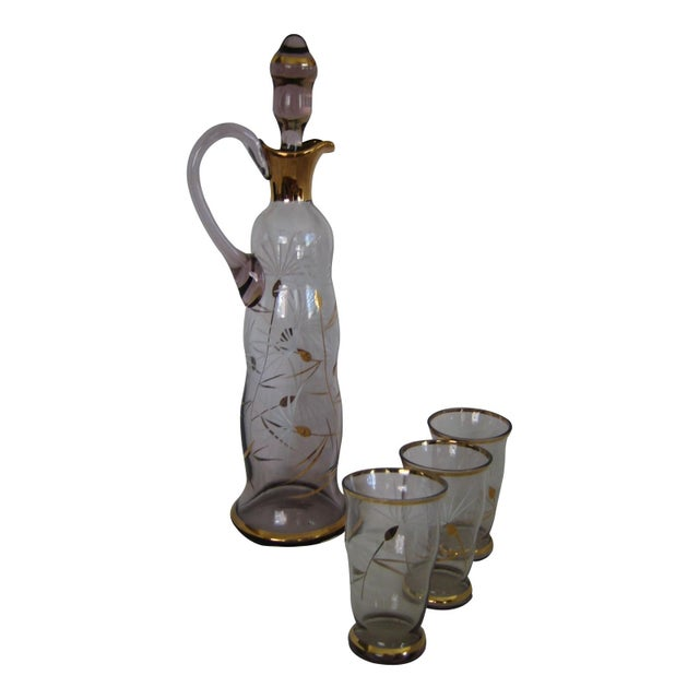 Image of Italian 1950s Decanter & Glass Set