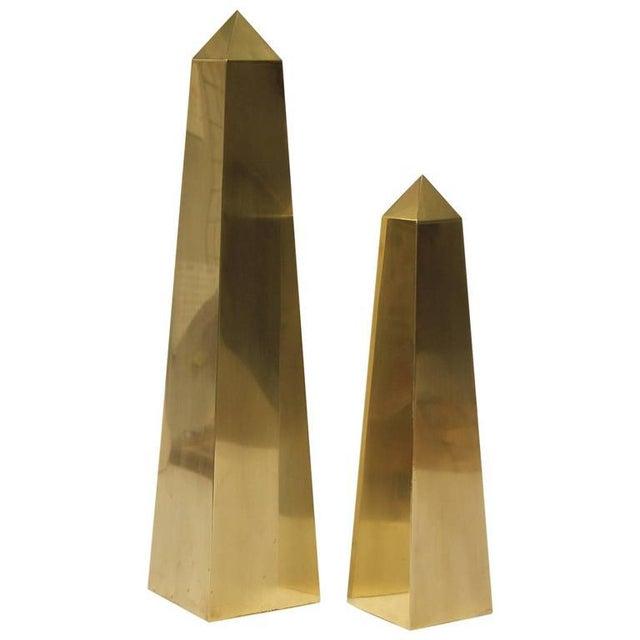 Large Vintage Brass Obelisks By Frederick Cooper - Image 2 of 2