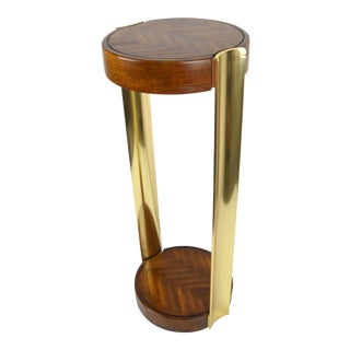 1970s Brass & Wood Plant Stand