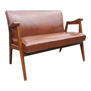 Mid-Century Brown Pleather Bench With Wooden Arms