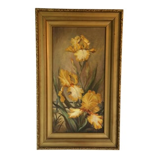 "1976 Vintage Oil On Canvas ""Iris"" Framed Painting by Ruth King"