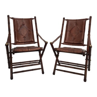 Leather & Mahogany Campaign Chairs - A Pair