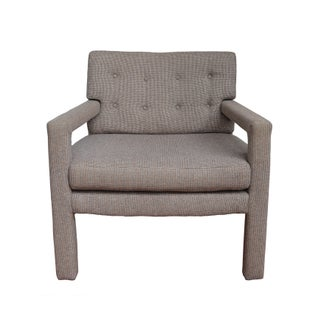 Mid-Century Milo Baughman Style Tweed Chair