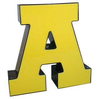 Large Vintage Yellow & Black Marquee Letter A