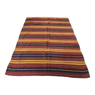 Vintage Afghan Kilim Area Rug - 5′3″ × 7′6″