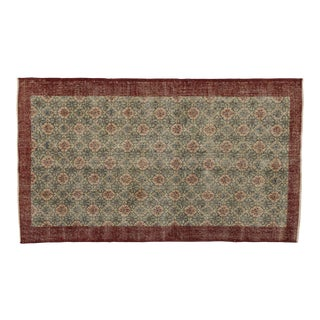 "Zeki Muren Distressed Vintage Turkish Sivas Rug - 4'11"" X 8'05"""