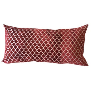 Red Velvet Pillow, Moroccan Pattern, Feather Insert