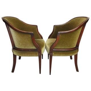 Antique Edwardian Velvet Mohair Tub Chairs - Pair