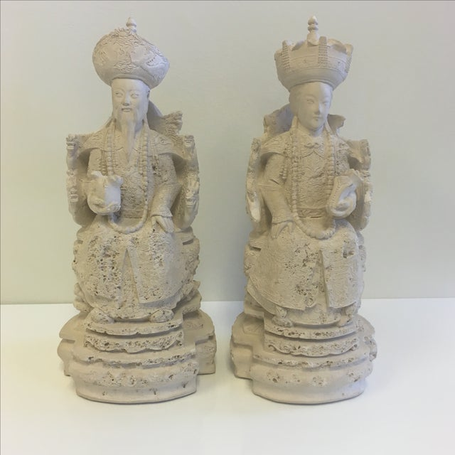 Vintage Plaster Chinoiserie Figures - Pair - Image 2 of 11
