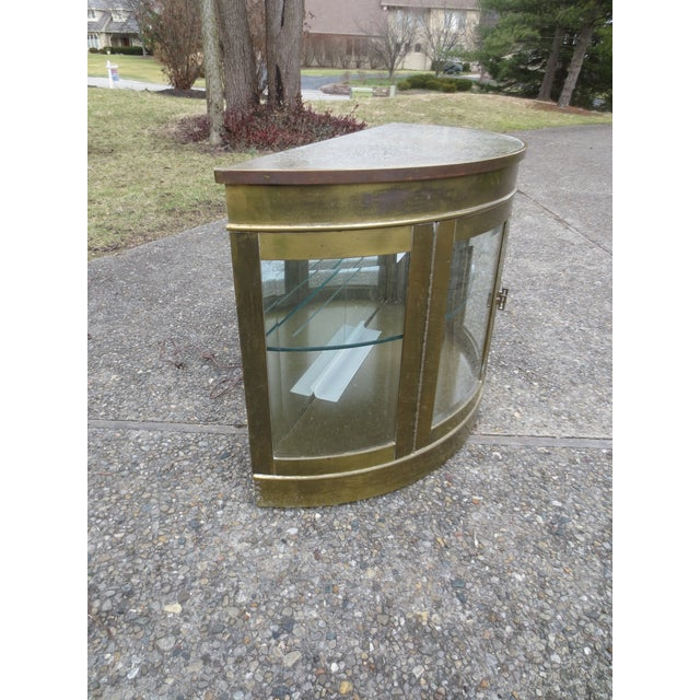 Image of Mastercraft 1970s Lighted Demi-Lune Brass Console