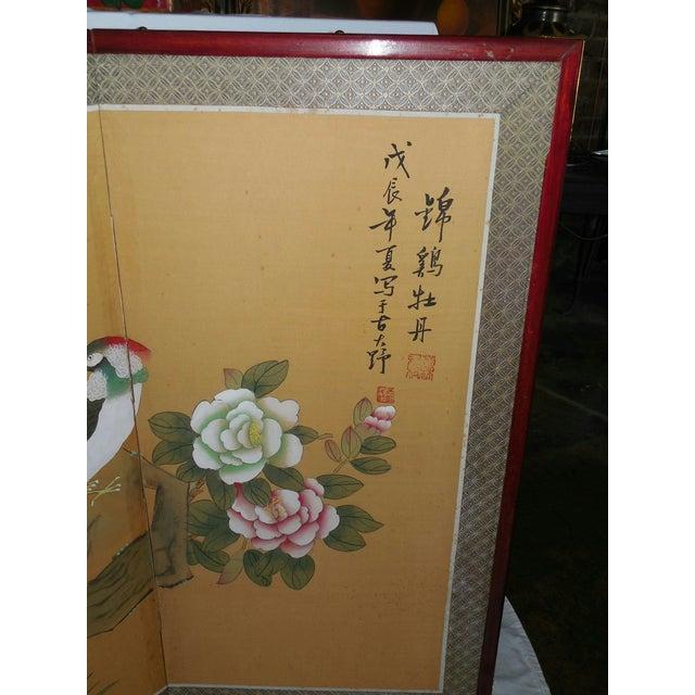 Japanese Silk Byobu Screen With Pheasants - Image 4 of 8