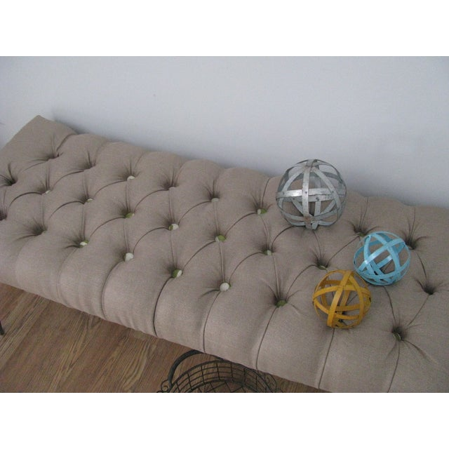 Image of Deep-Button Diamond-Tufted Bench With Hairpin Legs