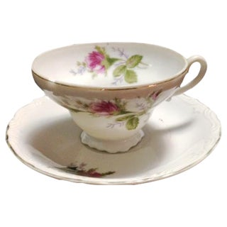 Vintage Pink & Green Flowered Cup & Saucer