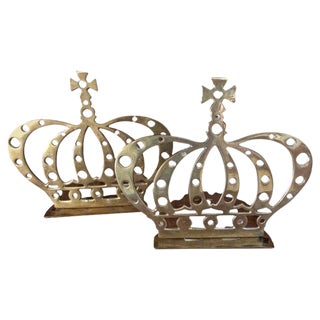 Pair of Brass Crown Bookends