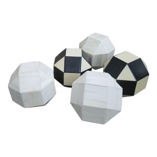 Black and White Bone Cube Spheres - Set of 5